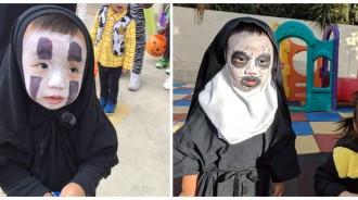 小男孩連2年萬聖節「扮無臉男、鬼修女」同學被嚇哭!卸妝後「原來是愛笑小帥弟」可愛程度爆表❤️
